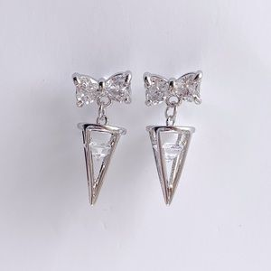 Jewelry - SILVER CRYSTAL BOW TIE EAR STUD EARRINGS